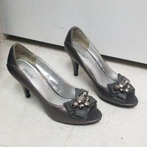 Gray Embellished Dressy High Heel shoes Judith